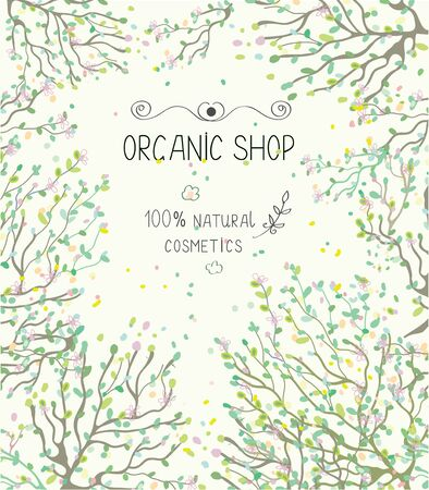 shop tender: Organic shop template for natural products - vector illlustration
