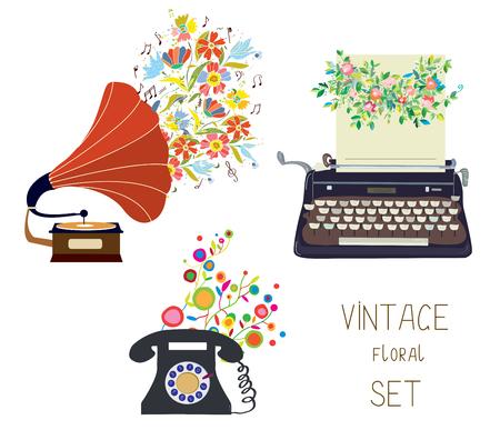 antik: Vintage Satz - Grammophon, Schreibmaschine und Telefon - Blumen schönes Design der Illustration Illustration