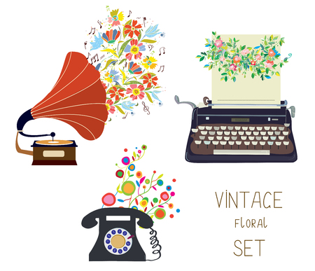 typing machine: Vintage set - gramophone, typewriter and phone - floral nice design of illustration