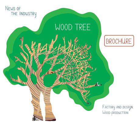 arbres silhouette: Conception de la brochure ou de la couverture de production de bois avec arpentage et disposition de texte - illustration