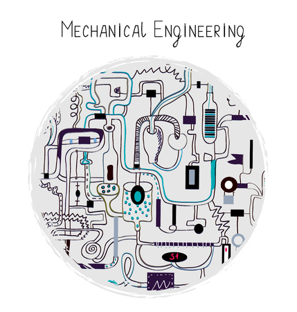 Mechanical engineering abstract background for the card illustration handdrawn sketchy style.