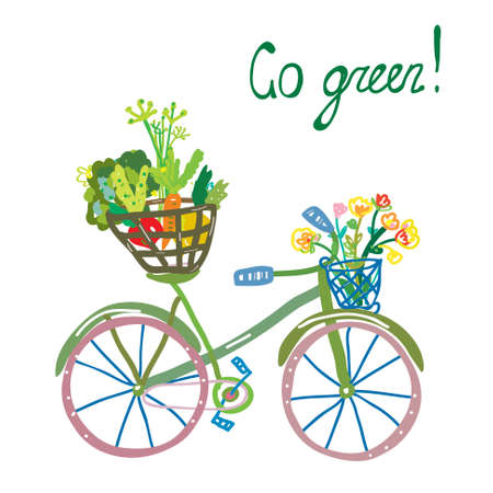 green card: Go green eco card with bicycle and organic food. Funny design for illustration or card. Illustration