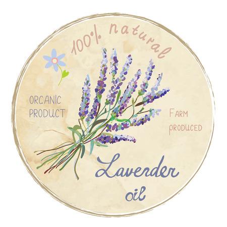 Lavender oil design label illustration. Suitable for a natural products, cards, backgrounds.