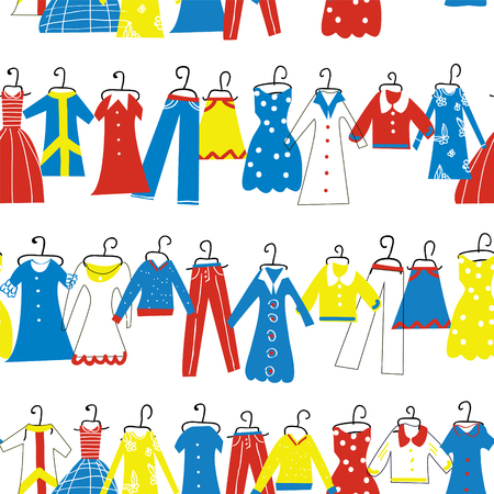 woman white shirt: Clothes seamless pattern for tailor shop or atelier. Illustration