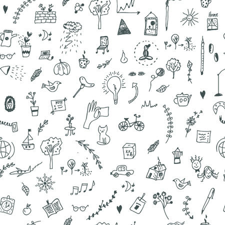 Creative seamless pattern with funny design, doodle illustration Ilustrace