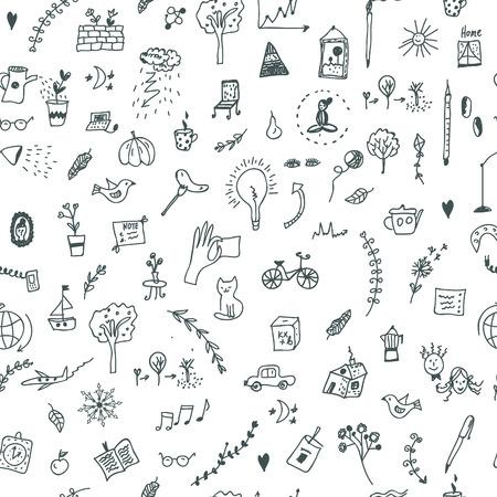 Creative seamless pattern with funny design, doodle illustration Illustration