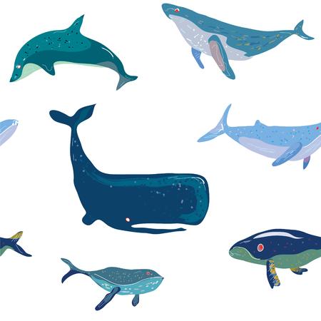 handdrawn: Whales seamless pattern, graphic handdrawn illustration
