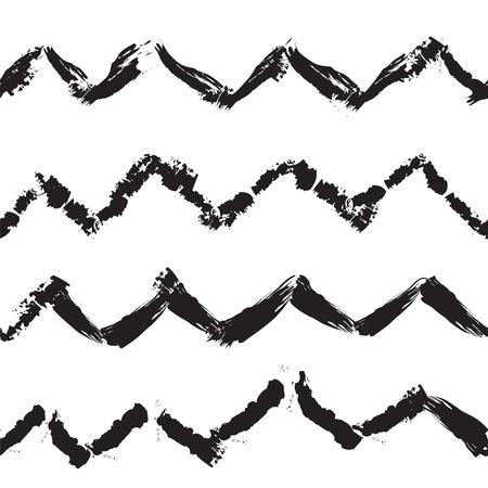 trendy: Zigzag handdrawn trendy seamless pattern, illustration
