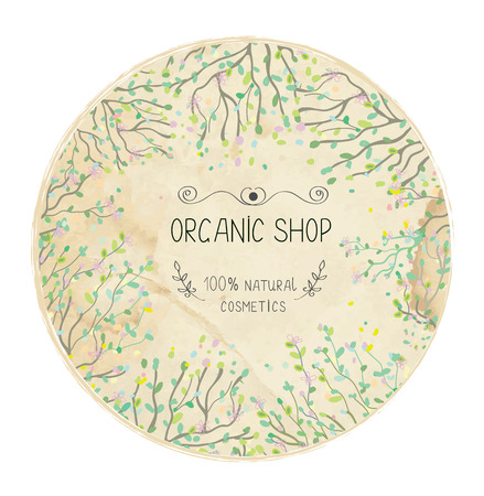 Eco shop natural label design with trees and leaves.