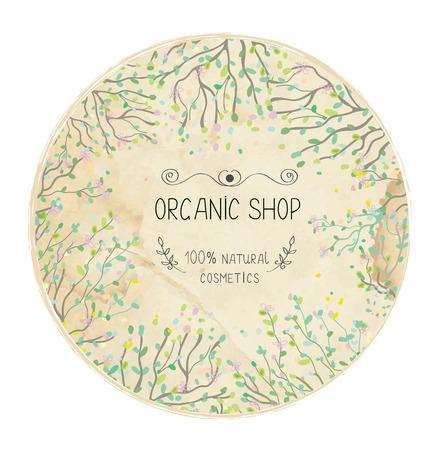 tienda de diseño de la etiqueta ecológica natural con árboles y hojas. Ilustración de vector