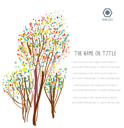 Negocio de fondo con árboles abstractos y diseño.