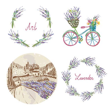 french countryside: Lavender floral set for the label, badge or web - wreath, landscape, bicycle and frame. Illustration