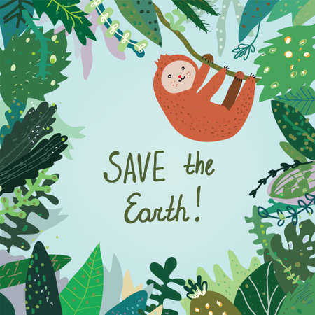 wildlife conservation: Save the Earth card with tropical forest, nature and animal. Illustration