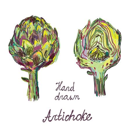 Artisjok hand getekende kaart set artistiek ontwerp