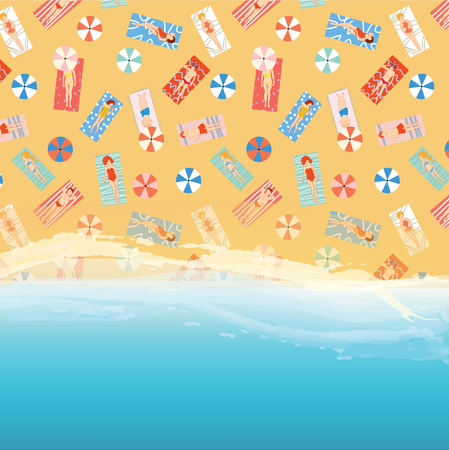 wed: Beach background with ocean, sand and people pattern illustration. Suitable for the card, banner, wed design element.