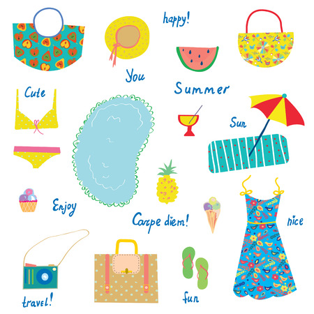 funny travel: Summer icons set, funny design - for vacations, travel, joy