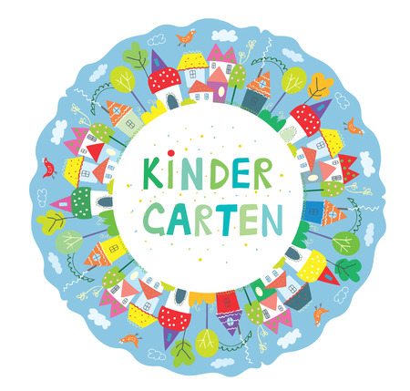 cute graphic: Frame for kindegarten banner with funny town, trees and birds, cute design. Vector graphic illustration Illustration