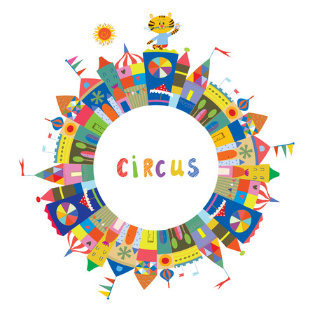 Circus frame for the card or banner, funny design, vector illustration