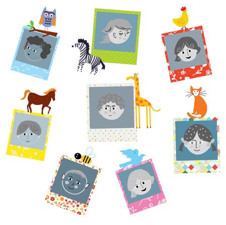 Fotolijsten ontwerpen voor kinderen met grappige dieren, vectorillustratie