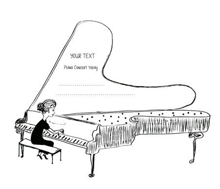 keyboard: Girl playing piano sketch - background for a musical concert, vector illustration Illustration