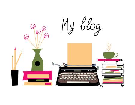 Bannière de blog avec machine à écrire et des livres avec un beau design. Illustration graphique de vecteur Vecteurs