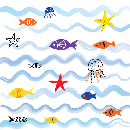 graphic background: Sea and fish background with cute design, vector graphic illustration