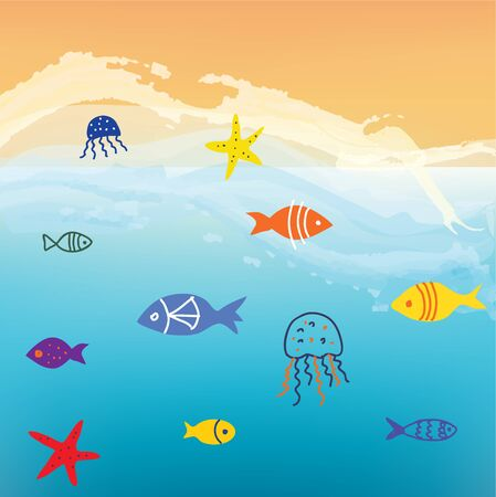 Sea and fishes funny background  with waves and sand graphic illustration Illustration