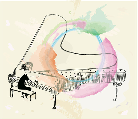 Girl playing piano sketch graphic illustration with frame
