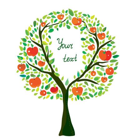 cartoon trees: Apple tree illustration with frame graphic hand drawn design Illustration