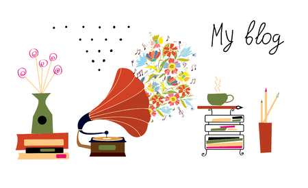 design objects: Music blog banner with gramophone and vintage objects graphic design