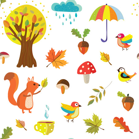 autumnal: Autumnal seamless pattern with nature elements and cartoon objects graphic illustration Illustration