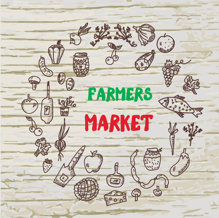 Farmers market design for the card or banner, sketchy style graphic illlustration Illustration