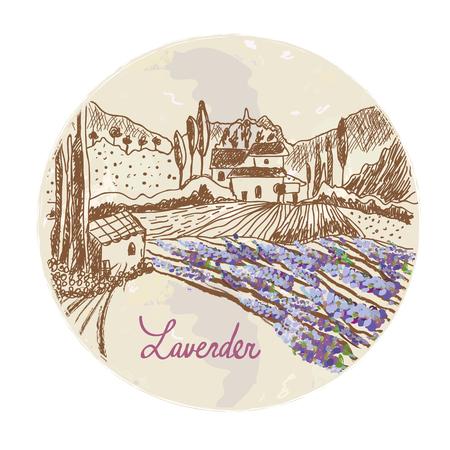 lavender oil: Lavender label with skethy landscape and flowers  graphic design