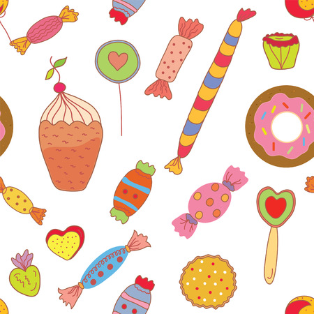 candies: Sweets seamless pattern with candies and cookies - graphic illustration