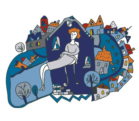 Woman alone in the city - conceptual illustration graphic Illustration