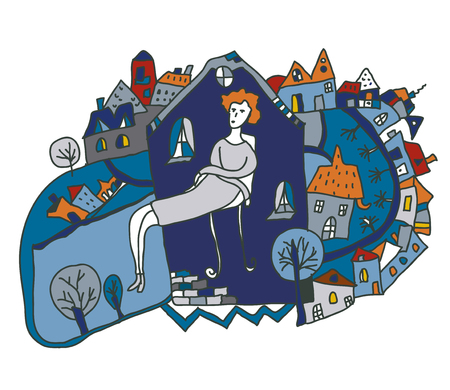 depression: Woman alone in the city - conceptual illustration graphic Illustration