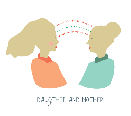 Mother and daughter communication - conceptual graphic illustration Vetores