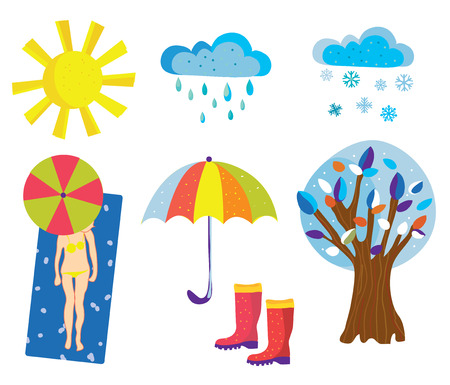 Weather icons and objects set cartoons.