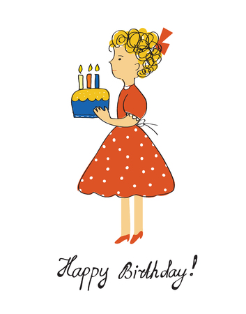 child birthday: Birthday card with girl and cake for a child - vector graphic illustration design