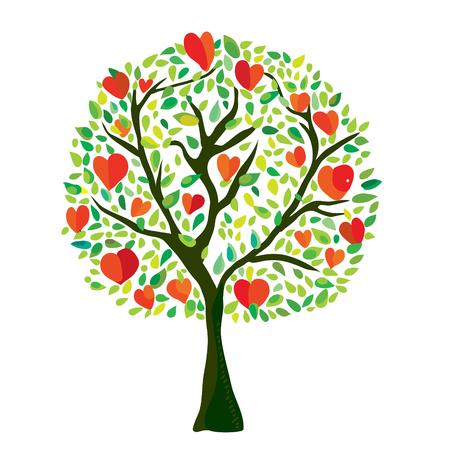 Kocha drzewa z sercami, walentynki karta - wektorowa graficzna ilustracja