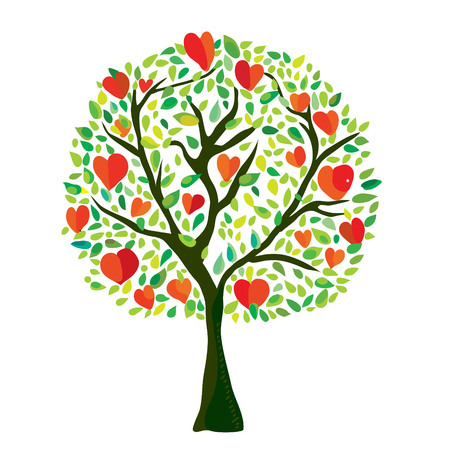 Love tree with hearts, Valentine card - vector graphic illustration