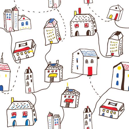 ベクトル グラフィック イラスト - 町シームレス パターンで面白い住宅
