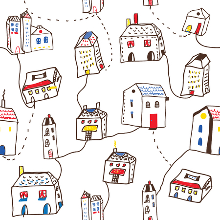 cute doodle: Funny houses in the town seamless pattern - vector graphic illustration