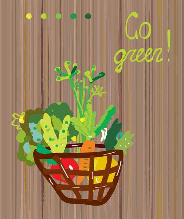 go green background: Go green background for vegetarian or vegan banner - vector graphic illustration Illustration