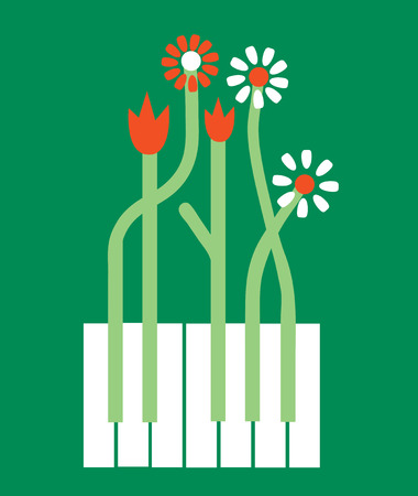 piano key: Conceptual piano background with flowers - vector graphic illustration