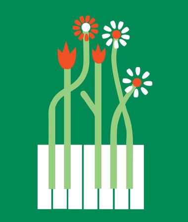 piano de fondo conceptual con flores - ilustración vectorial gráfico Ilustración de vector