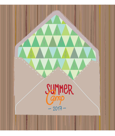 campamento: Invitación de campamento de verano con maderas y sobre - ilustración vectorial gráfico Vectores