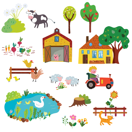 Farm life design elements set - funny design, vector graphic illustration