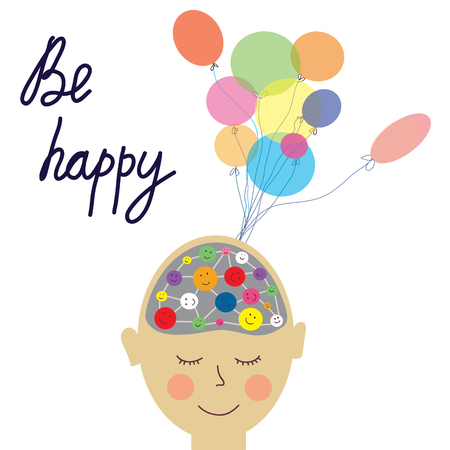 happy person: Happy person concept card with brain - vector graphic illustration