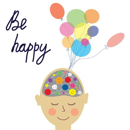 persona feliz: persona de la tarjeta feliz con el cerebro concepto - vector ilustración gráfica Vectores